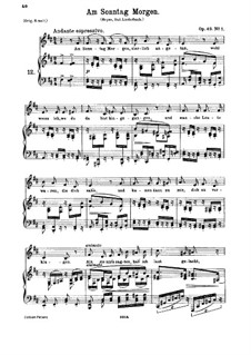 No.1 On Sunday Morning: Piano-vocal score by Johannes Brahms