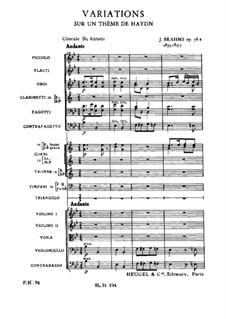 Variations on a Theme by Haydn, Op.56a: Full score by Johannes Brahms