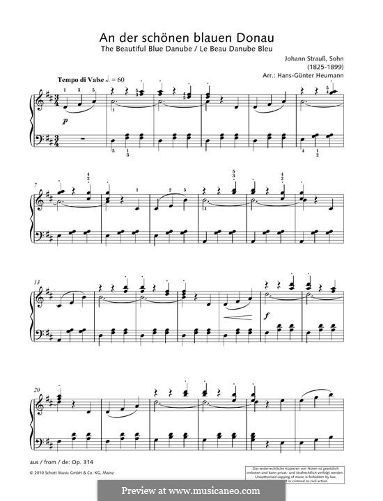 On the Beautiful Blue Danube, for Piano, Op.314: For a single performer by Johann Strauss (Sohn)