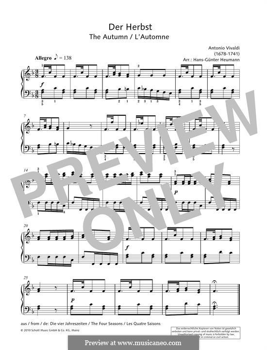Violin Concerto No.3 in F Major 'L'autunno', RV 293: Theme, for piano by Antonio Vivaldi