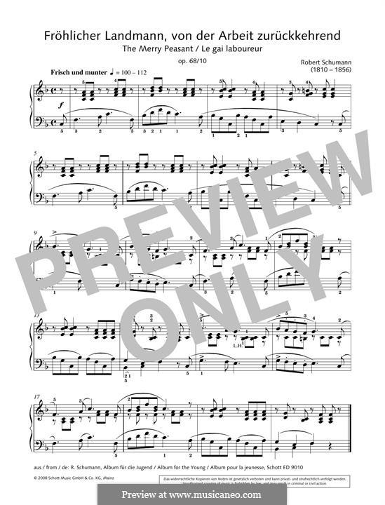 No.10 Fröhlicher Landmann (The Happy Farmer): For piano by Robert Schumann