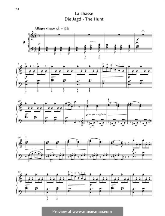 No.9 La Chasse (The Hunt): For piano by Johann Friedrich Burgmüller