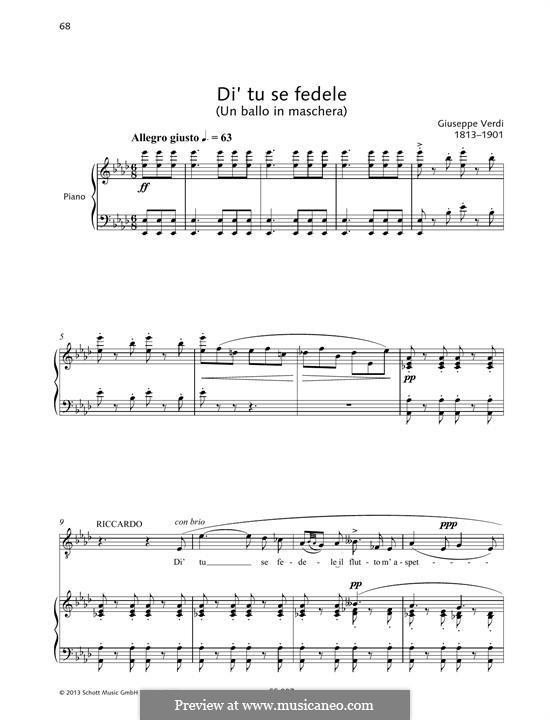 A Masked Ball: Di tu se fedele by Giuseppe Verdi