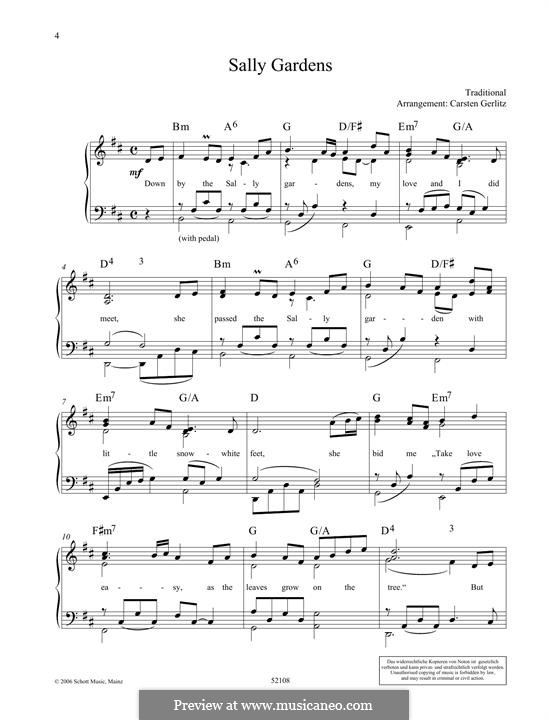 Down By the Sally Gardens: For piano by folklore