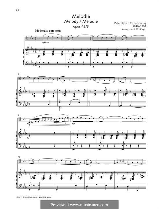 Souvenir d'un lieu cher (Memory of a Dear Place), TH 116 Op.42: No.3 Mélodie, for viola and piano by Pyotr Tchaikovsky