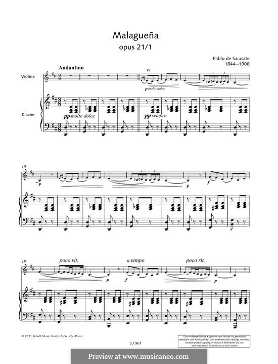 Malagueña, Op.21: For violin and piano by Pablo de Sarasate