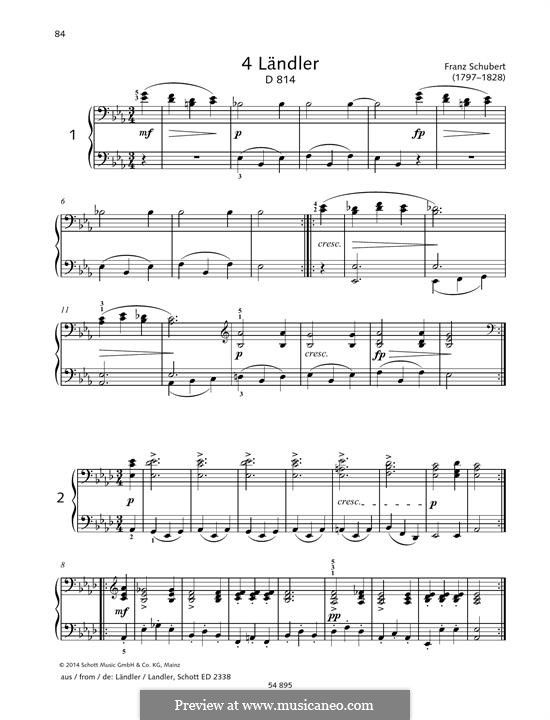 Four Ländler for Piano Four Hands, D.814: For piano by Franz Schubert
