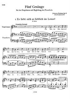 Five Songs, Op.71: Complete set by Johannes Brahms