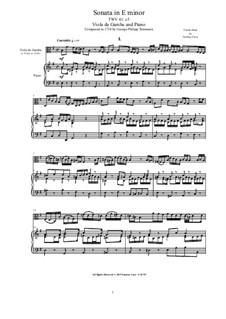 Sonata for Viola da Gamba and Piano in e minor, TWV 41:e5: Sonata for Viola da Gamba and Piano in e minor by Georg Philipp Telemann