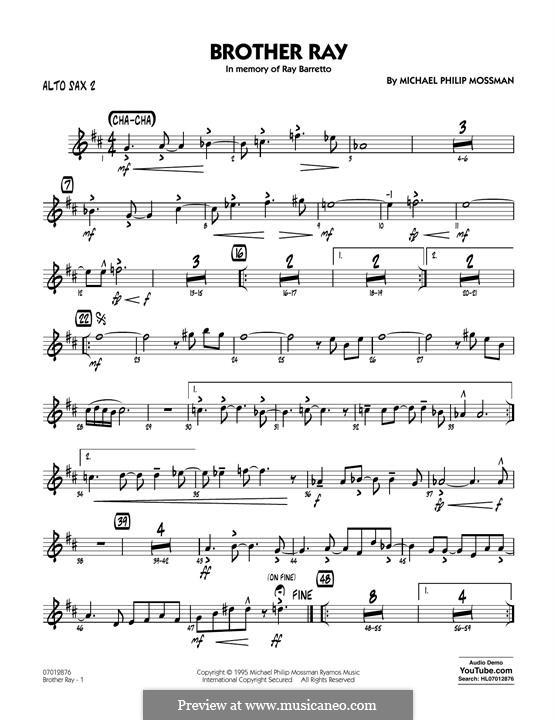 Brother Ray: Alto Sax 2 part by Michael Philip Mossman