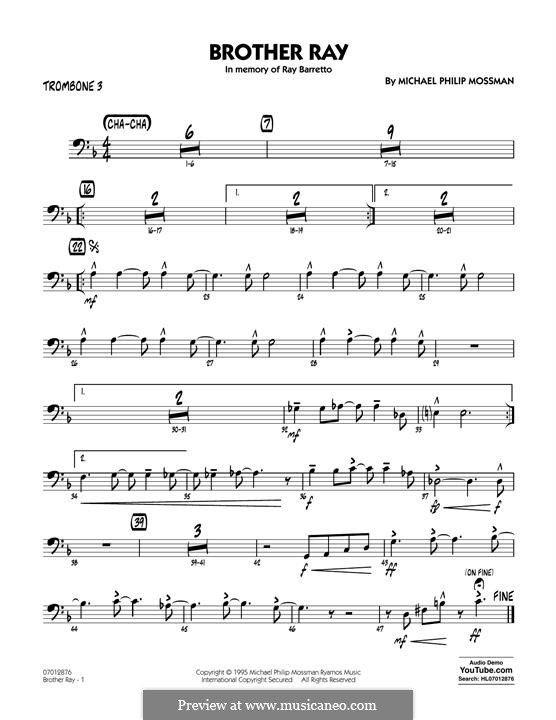 Brother Ray: Trombone 3 part by Michael Philip Mossman