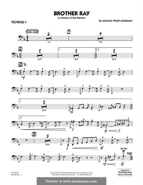 Brother Ray: Trombone 4 part by Michael Philip Mossman
