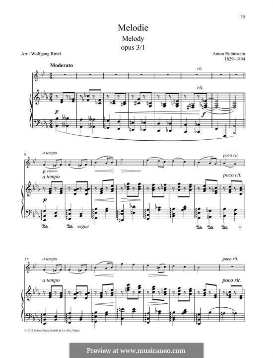 Two Melodies, Op.3: Melody No.1, for any instrument and piano by Anton Rubinstein
