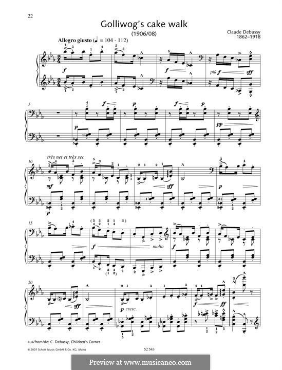 No.6 Golliwogg's Cakewalk: For piano by Claude Debussy