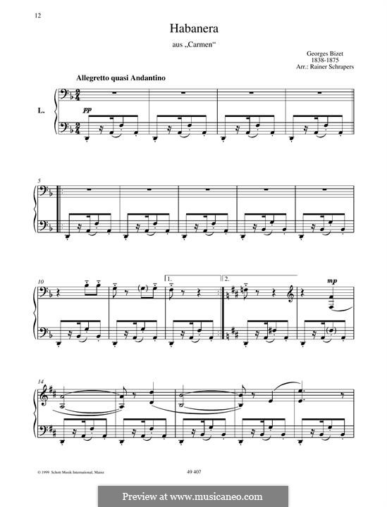 Habanera (Printable Scores): For piano by Georges Bizet