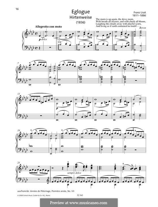 Eglogue (Hirtenweise): Eglogue (Hirtenweise) by Franz Liszt