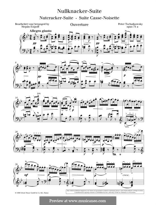 No.1 Miniature Overture : For piano by Pyotr Tchaikovsky