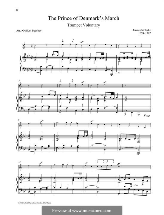 Prince of Denmark's March (Trumpet Voluntary): For any instrument and piano by Jeremiah Clarke