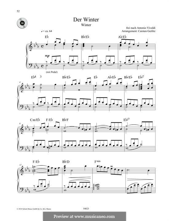 Violin Concerto No.4 in F Minor 'L'inverno', RV 297: Movement II. Arrangement for piano (Theme) by Antonio Vivaldi