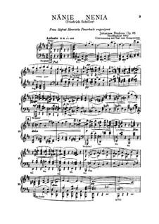 Nänie, Op.82: Piano-vocal score by Johannes Brahms