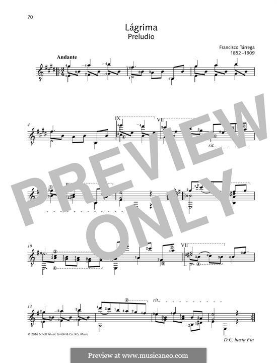 Lagrima. Prelude: For guitar by Francisco Tárrega