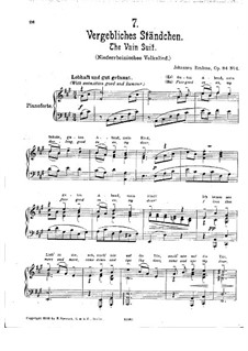 Romances and Songs, Op.84: No.4 Vergebliches Ständchen (The Vain Suit) in A Major by Johannes Brahms