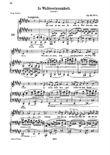 Six Songs, Op.85: No.6 In Waldeseinsamkeit (In the Loneliness of the Forest) by Johannes Brahms