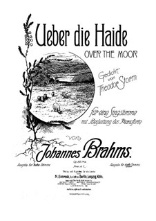 Six Songs, Op.86: No.4 Über die Heide (Over the Heath) by Johannes Brahms