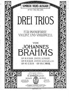 Piano Trio No.1 in B Major, Op.8: Version for piano four hands by Johannes Brahms