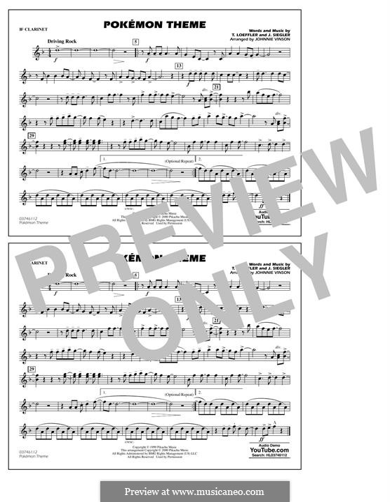 Pokemon Theme: Bb Clarinet part by J. Siegler, T. Loeffler