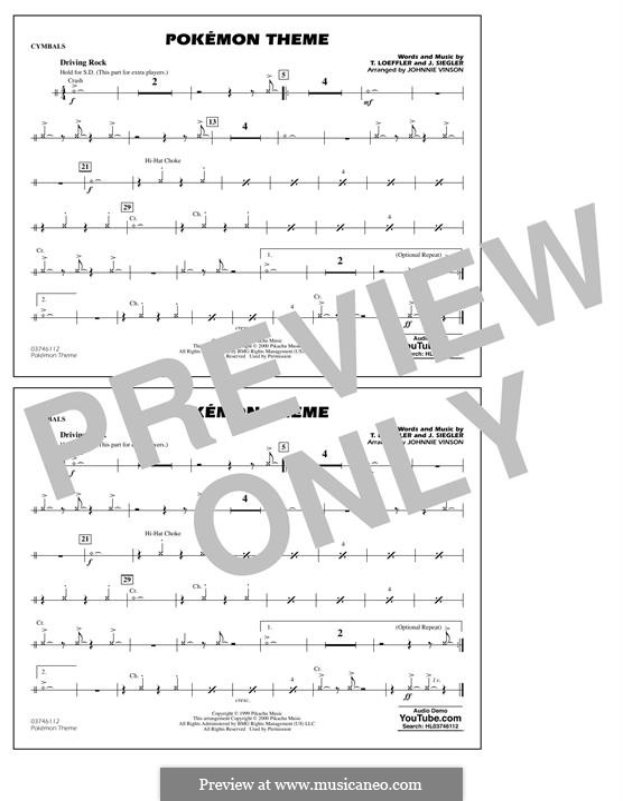 Pokemon Theme: Cymbals part by J. Siegler, T. Loeffler