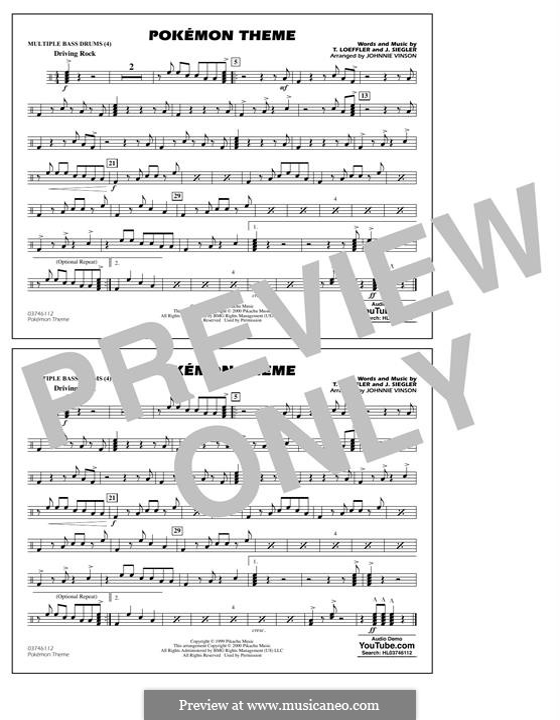 Pokemon Theme: Multiple Bass Drums part by J. Siegler, T. Loeffler