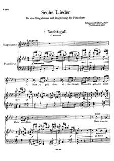 Six Songs, Op.97: Complete set by Johannes Brahms