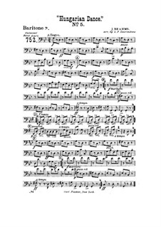 Dance No.5 in F Sharp Minor: For wind band – baritone horn part in bass clef by Johannes Brahms