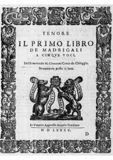 Madrigals for Five Voices: Book I – tenor part by Giovanni Croce