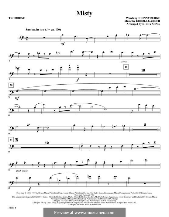Misty (Johnny Mathis): Trombone part by Erroll Garner