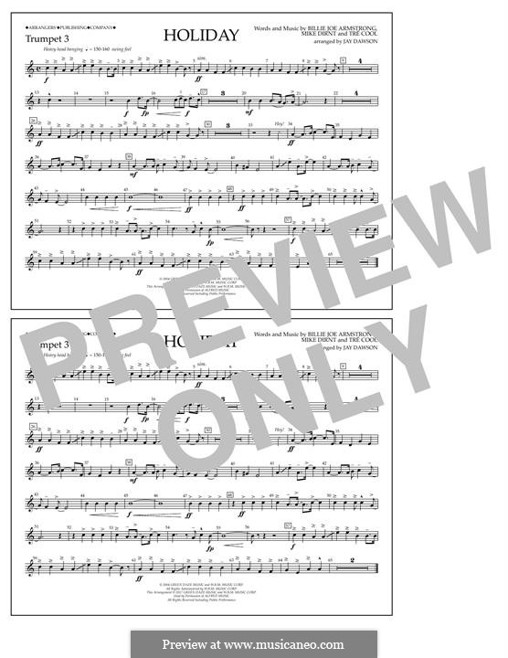 Holiday (Green Day): Bb Trumpet 3 part by Billie Joe Armstrong, Tré Cool, Michael Pritchard