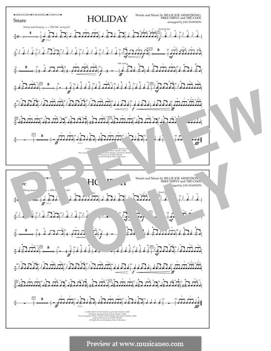 Holiday (Green Day): Snare Drum part by Billie Joe Armstrong, Tré Cool, Michael Pritchard