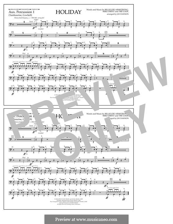 Holiday (Green Day): Aux. Percussion 1 part by Billie Joe Armstrong, Tré Cool, Michael Pritchard
