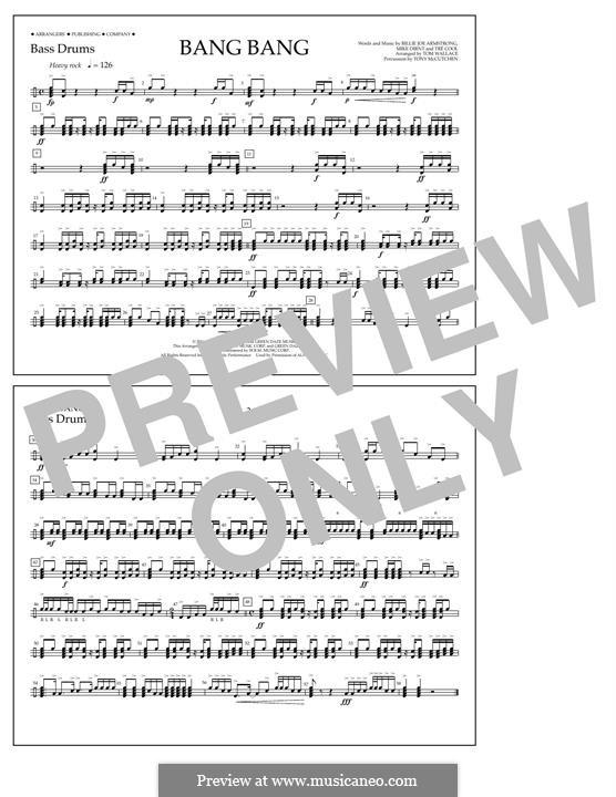 Bang Bang (Green Day): Bass Drums part by Billie Joe Armstrong, Tré Cool, Mike Dirnt