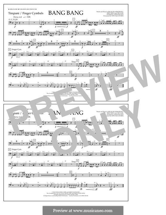 Bang Bang (Green Day): Timpani/Finger Cym. part by Billie Joe Armstrong, Tré Cool, Mike Dirnt