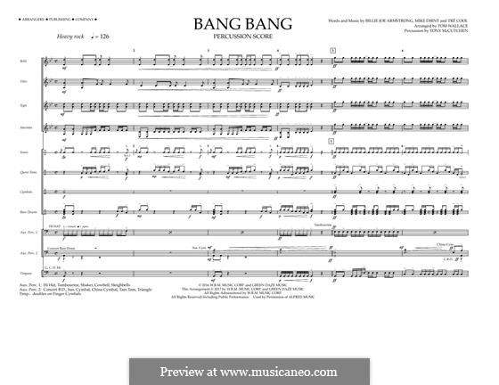 Bang Bang (Green Day): Percussion Score by Billie Joe Armstrong, Tré Cool, Mike Dirnt