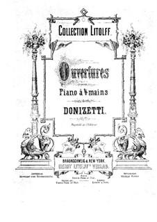Gemma di Vergy: Overture, for Piano Four Hands by Gaetano Donizetti