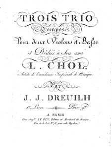 Three Trios for Two Violins and Cello: Cello part by Jean Jacques Dreuilh
