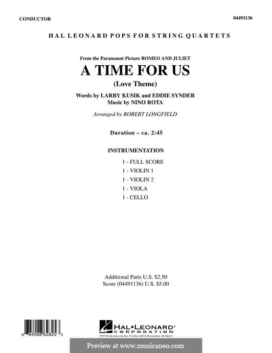 A Time for Us (Love Theme from Romeo and Juliet): For strings – Full Score by Nino Rota