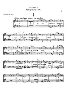 Symphony in C Major: Clarinets part by Paul Dukas