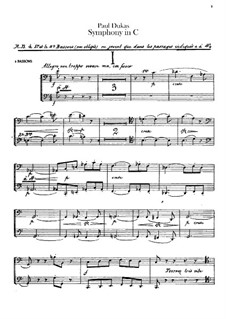Symphony in C Major: Bassoons part by Paul Dukas