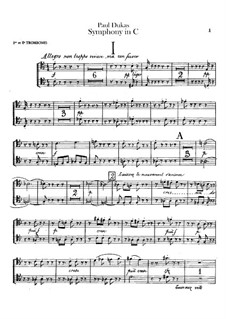 Symphony in C Major: Trombones and tuba parts by Paul Dukas