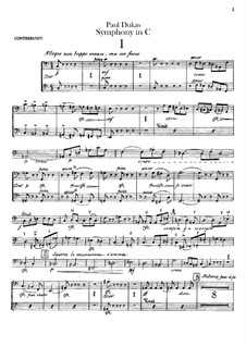 Symphony in C Major: Double bass parts by Paul Dukas