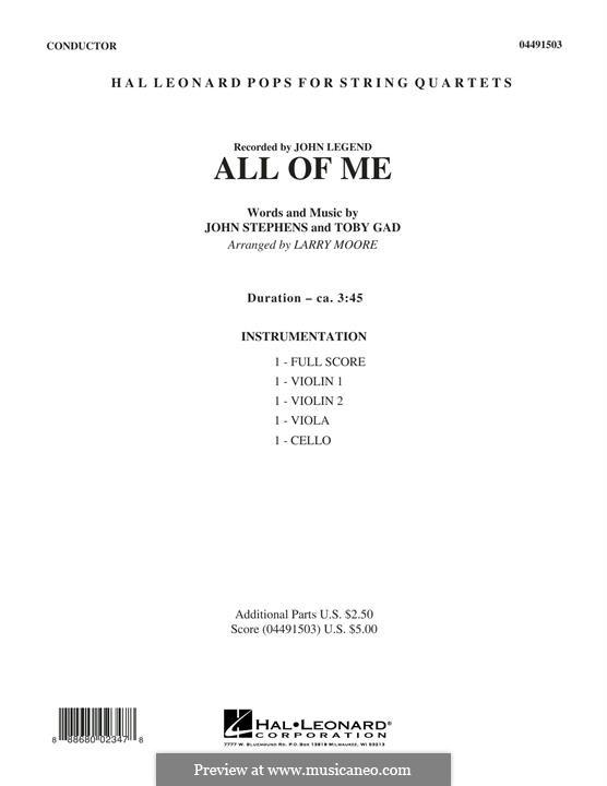 All of Me: For string quartet – Full Score by John Stephens, Tobias Gad